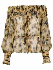 Redemption off-shoulder floral blouse - NEUTRALS