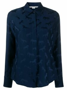 Stella McCartney horses-jacquard long-sleeve shirt - Blue