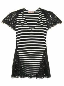 Twin-Set striped lace-embellished T-shirt - Black