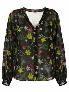 LIU JO embroidered flared blouse - Black