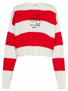 Miu Miu cherries striped jumper - Red