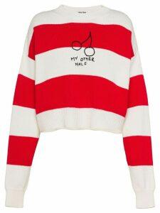 Miu Miu cherries striped jumper - Red