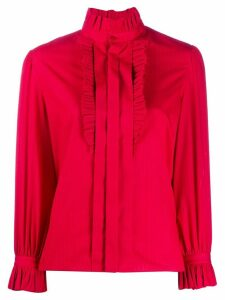 Saint Laurent ruffle collar shirt - Red