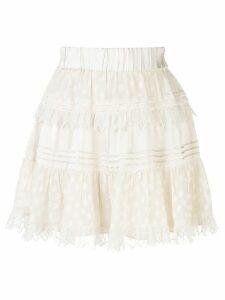 Alexis Yakira layered polka dot skirt - White