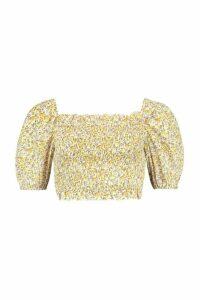Womens Woven Dusty Shirred Crop Top - yellow - 14, Yellow