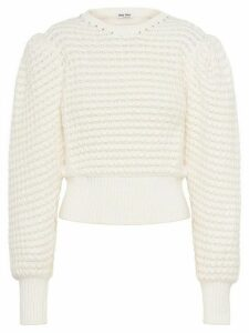 Miu Miu crystal-embellished knitted jumper - White