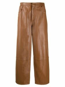 Mm6 Maison Margiela straight leather trousers - Brown