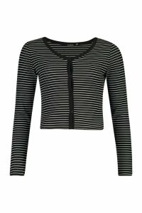 Womens Button Front Cardigan In Striped Rib - black - 14, Black
