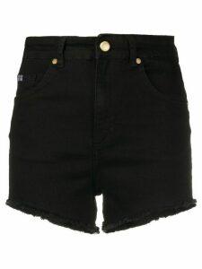 Versace Jeans Couture asymmetrical denim cut-off shorts - Black