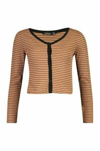 Womens Button Front Cardigan In Striped Rib - beige - 14, Beige