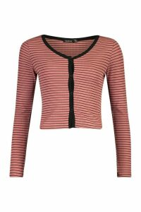 Womens Button Front Cardigan In Striped Rib - Pink - 14, Pink