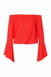 Womens Woven Off The Shoulder Ruffle Sleeve Top - red - 6, Red