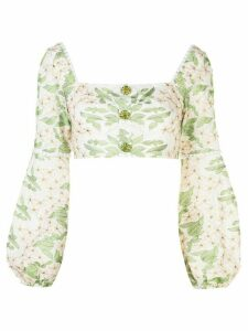 Alexis Ikala floral-embroidered top - White