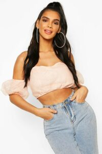 Womens Organza Off The Shoulder Crop Top - pink - 16, Pink