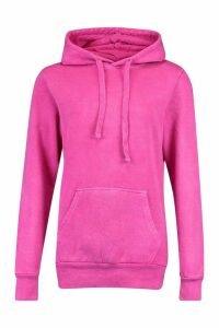 Womens Neon Washed Oversized Hoody - Pink - M, Pink