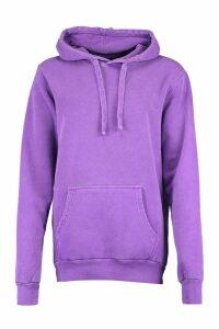 Womens Neon Washed Oversized Hoody - purple - M, Purple