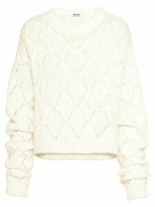 Miu Miu pearl-embellished argyle sweater - White