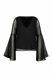 Womens Dobby Chiffon Flared Sleeve Blouse - black - 14, Black