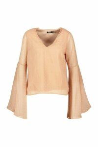 Womens Dobby Chiffon Flared Sleeve Blouse - Pink - 14, Pink