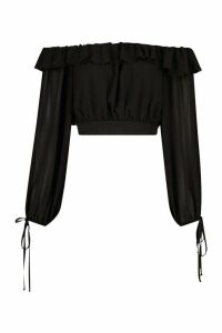 Womens Woven Off The Shoulder Balloon Crop Top - black - 16, Black