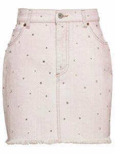Miu Miu bleached-effect denim skirt - PINK