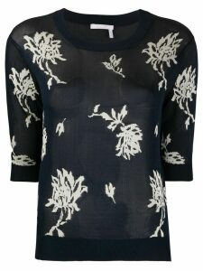 Chloé floral jacquard-knit knitted top - Blue
