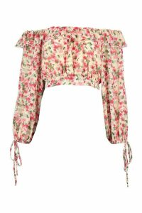 Womens Woven Floral Ruffle Off The Shoulder Top - Pink - 14, Pink