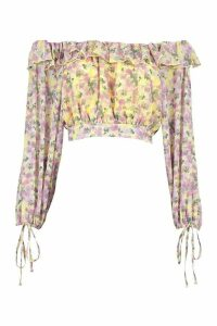 Womens Woven Floral Ruffle Off The Shoulder Top - yellow - 6, Yellow