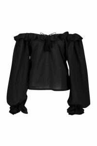 Womens Cotton Ruffle Oversized Blouse - black - 16, Black