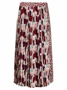 Prada lipstick print pleated skirt - Red