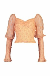 Womens Lace Shirred Puff Sleeve Top - orange - 16, Orange