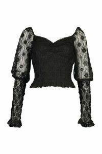 Womens Lace Shirred Puff Sleeve Top - black - 16, Black