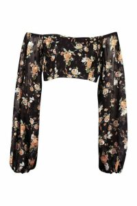 Womens Printed Dobby Off The Shoulder Top - black - 14, Black