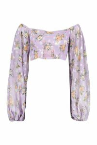 Womens Printed Dobby Off The Shoulder Top - Purple - 14, Purple