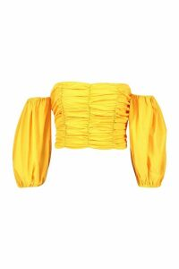 Womens Ruched Volume Sleeve Crop Top - Yellow - 16, Yellow