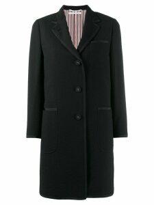 Thom Browne Tipping Wool Seersucker Overcoat - Black