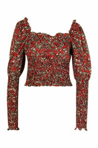 Womens Woven Floral Shirred Puff Sleeve Top - black - 16, Black
