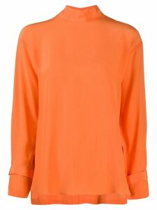 Jejia silk long sleeve blouse - ORANGE