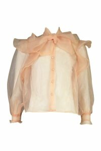 Womens Organza Ruffle Detail Pussybow Blouse - pink - 6, Pink