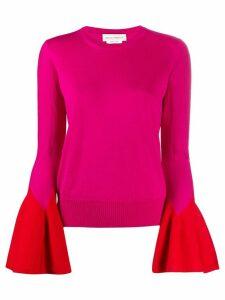 Alexander McQueen flared-sleeve knit jumper - PINK