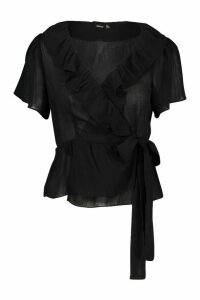 Womens Woven Ruffle Detail Wrap Top - black - 14, Black