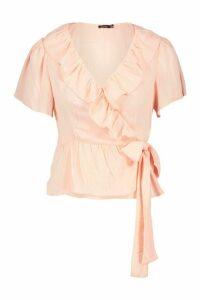 Womens Woven Ruffle Detail Wrap Top - pink - 14, Pink