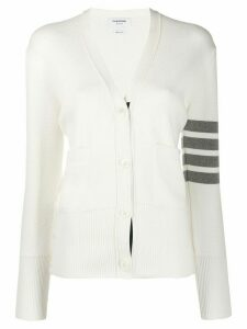 Thom Browne 4-Bar V-Neck Cardigan - White