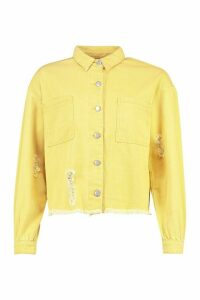 Womens Oversized Washed Denim Shirt Jacket - Yellow - 14, Yellow