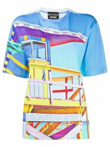Boutique Moschino beach hut print T-shirt - White