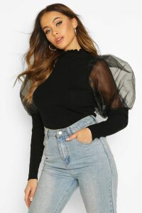 Womens High Frill Neck Jumper With Organza Puff Sleeve - black - L, Black