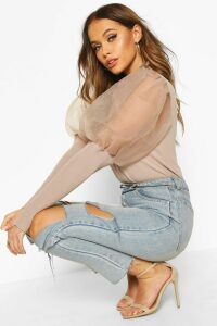 Womens High Frill Neck Jumper With Organza Puff Sleeve - Beige - M, Beige