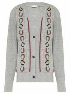 Miu Miu horseshoe motif cardigan - Grey