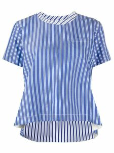 Sacai striped asymmetrical hem cotton blouse - Blue
