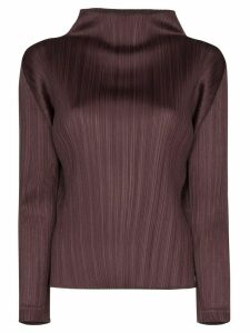 Pleats Please Issey Miyake high-neck plissé top - PURPLE